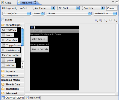 main.xml Graphical Layout