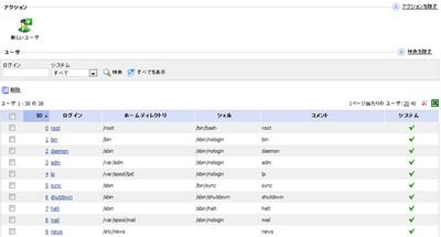 ユーザ一覧画面。ユーザの検索や削除も行える