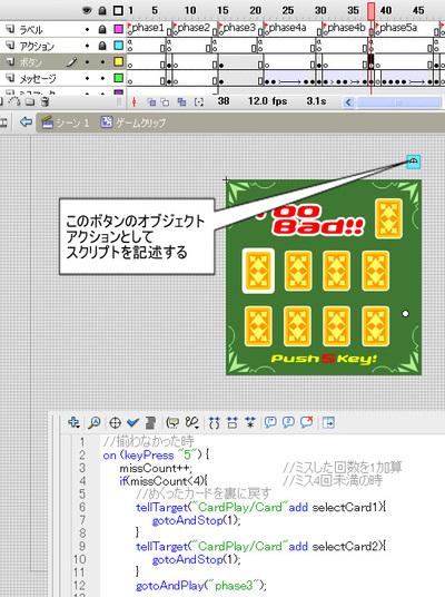 Fla画面4 次のフェーズに移行するためのスクリプトの記述場所
