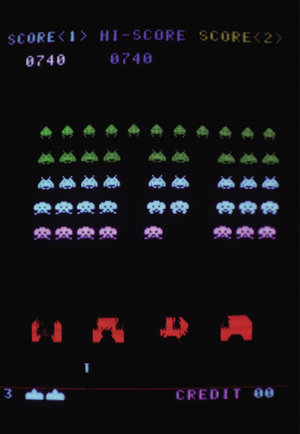 写真1 「スペースインベーダー」のゲーム画面。それまでのゲームにはない,戦略や奥深さを持つアイデアが詰まっていた