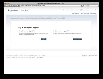 Apple IDの確認。すでに持っている場合は左側の「Log in」を,持っていない場合は右側の「Create Apple ID」をクリック