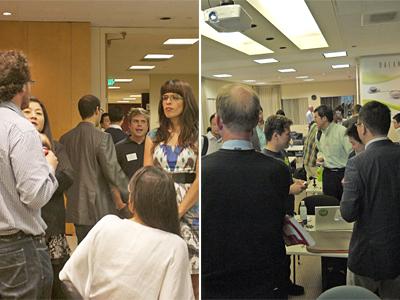 10社のピッチ参加企業,70名以上の来場者が集まり,熱気を帯びた会場の様子