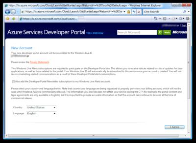 図6 Azure Services Developer Portal アカウントの作成