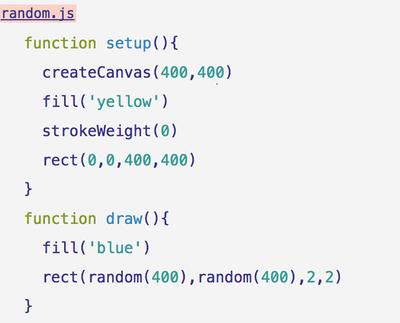 図2 乱数で生成した座標に点を打つ(randam.js)