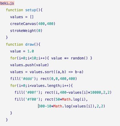 図7 乱数の掛け算のプログラム例(beki.js)