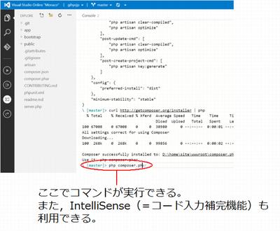 コンソール入力部分からPHPコマンドを実行。「php composer.phar install」と実行すればインストールされる