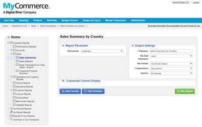 MyCommerceのレポーティング画面。表示項目のカスタマイズやExcel形式でのダウンロードが可能なほか,よく使うレポートをお気に入りとして登録できる