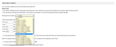 プロダクトの登録画面。通常のダウンロード販売に加え,サブスクリプション形式での課金にも対応する。なおサブスクリプション期間は複数の選択肢から選べる