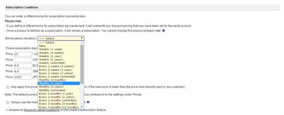 MyCommerceのサブスクリプション提供の設定画面。金額はもちろん,利用期間についても細かく制御することが可能