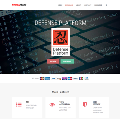 ハミングヘッズの「Defense Platform」の海外向け販売サイト。こちらでも決済部分についてはMyCommerceが使われている