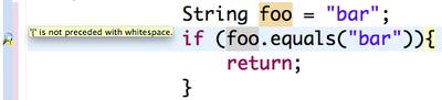 図2 Checkstyleによるコーディングスタイルの不一致の検出例