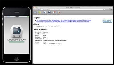 iOSシミュレータ上で起動しているアプリとweinreを接続