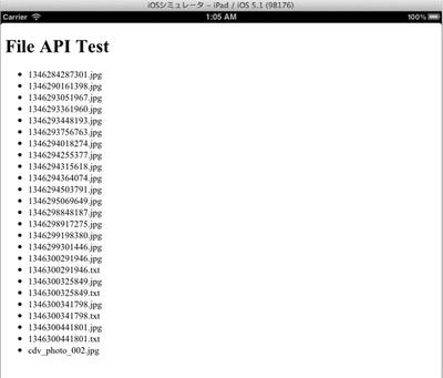 PERSISTENTファイルシステムに格納されているファイルの一覧が列挙される