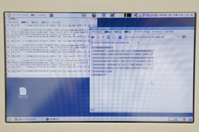 ダウンローダプログラムが動作しているところ。右ウィンドウがダウンロードするバイナリ,左にダウンロード時のHTTPリクエストが表示される