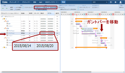 図3 「親子チケットを再計算」「依存先を変更」にチェックを入れた状態で,「プログラムB」の作業開始日を4日遅らせる