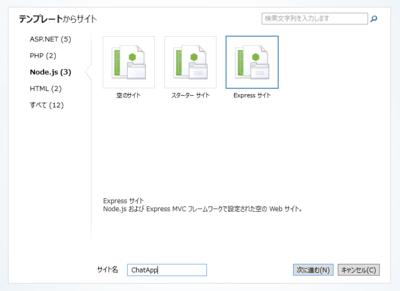 図2 WebMatrixで「Expressサイト」テンプレートを選択