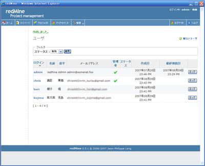 ユーザを登録した結果のユーザ一覧画面
