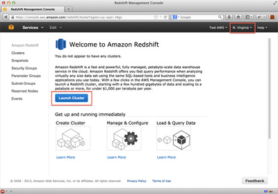 図3 Amazon Redshiftコンソールトップ画面