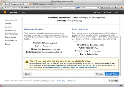 図7 Redshiftクラスタ起動確認画面
