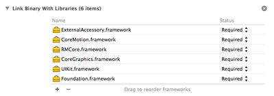 RMCore.frameworkをFrameworksにドラッグ&ドロップ