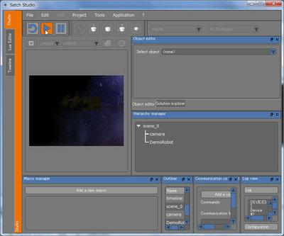 ビデオキャプチャーの設定を行い,PCに接続されたカメラの画像がビューポート・ウィンドウに表示されるかチェックする