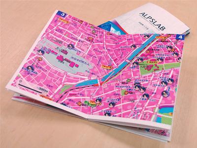 萌えちず ALPSLAB print APIも使って,1枚の紙からミニ地図帳化