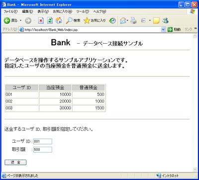 図2 Bankアプリケーションの初期表示画面