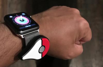 図5 Pokémon GO PlusをApple Watch(Series 1)のミラネーゼループに留める