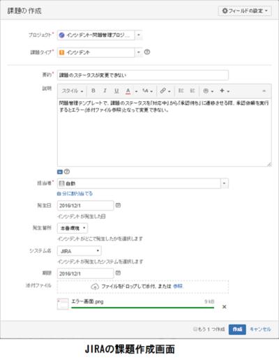 図2 JIRAの課題作成画面