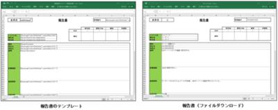 図2 (左)報告書のテンプレート (右)ダウンロードされる報告書