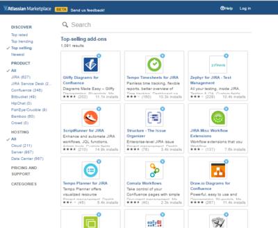 図2 Atlassian製品のマーケットプレイス