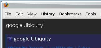 図5 google Ubiquityと入力してエンターを押すとGoogle検索が実行される