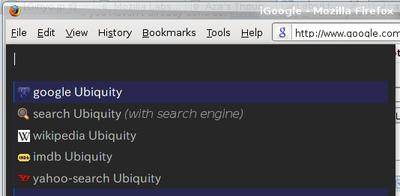 図4 テキスト'Ubiquity'を選択した状態でUbiquityプロンプトを表示した場合