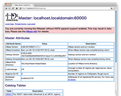 図1 HBaseのWebインタフェース