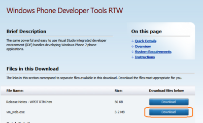 図1 Windows Phone Developer Tools RTM ダウンロードページ