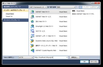 図4 ASP.NET Webサイトプロジェクトの作成