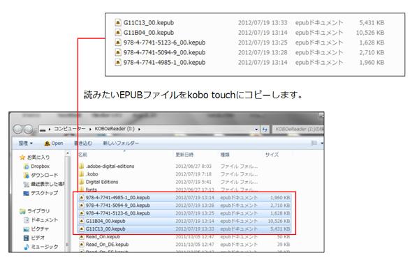 kobo Touchにファイルをコピーする