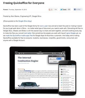 無料化されたQuickoffice。スマホ・タブレットの両方で利用できる