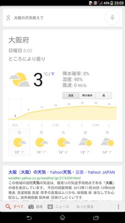 天気を検索したときの例