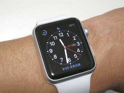 Apple Watchを腕に着けたところ