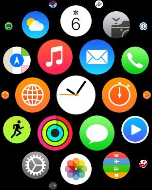 Apple Watchのホーム画面。アイコンは小さくても間違いなくタップできる