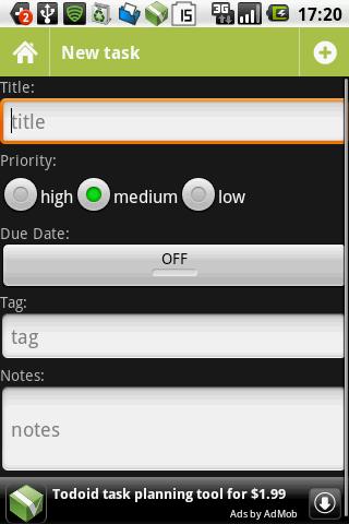 図4 入力画面,Priority,Due Date,Tag,Notesなど