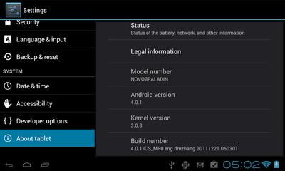 端末情報を表示する画面。Androidのバージョンは,4.0.1となっている