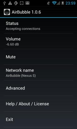 AirBubbleで,AirPlayを使っている様子(画面は,Nexus Sです)