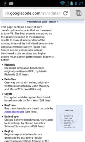 V8 Benchmark Suiteを実行している様子。標準Webブラウザの方が若干良い結果となっている