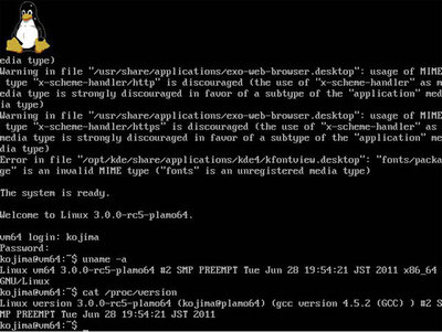 図1 仮想マシンで起動してみたLinux-3.0-rc5カーネル
