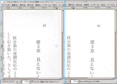 図2 明度とコントラストを35(左)から50(右)まで上げた例
