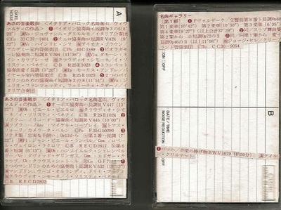 図1 カセットテープと曲目リストの例