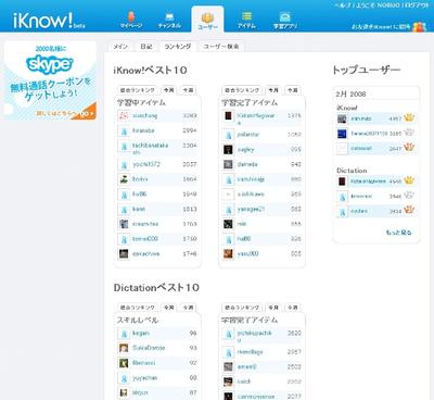 ランキング一覧画面(3月12日現在)
