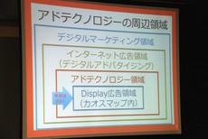 セミナー冒頭,アドテクノロジーの現状と概要について簡単に説明するスケールアウトの菅原健一氏。